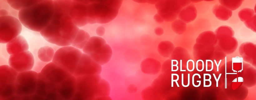Image of red blood cells and Bloody Rugby logo